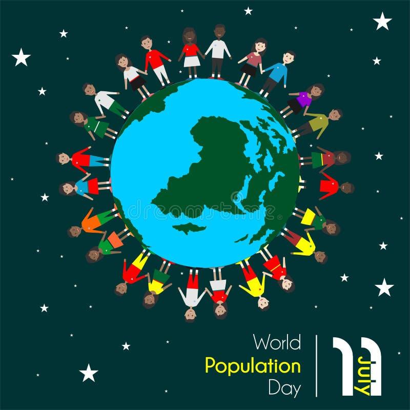 Día de la población mundial el 11 de julio stock de ilustración