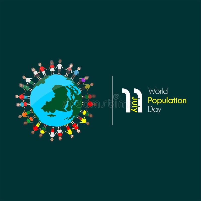 Día de la población mundial el 11 de julio libre illustration