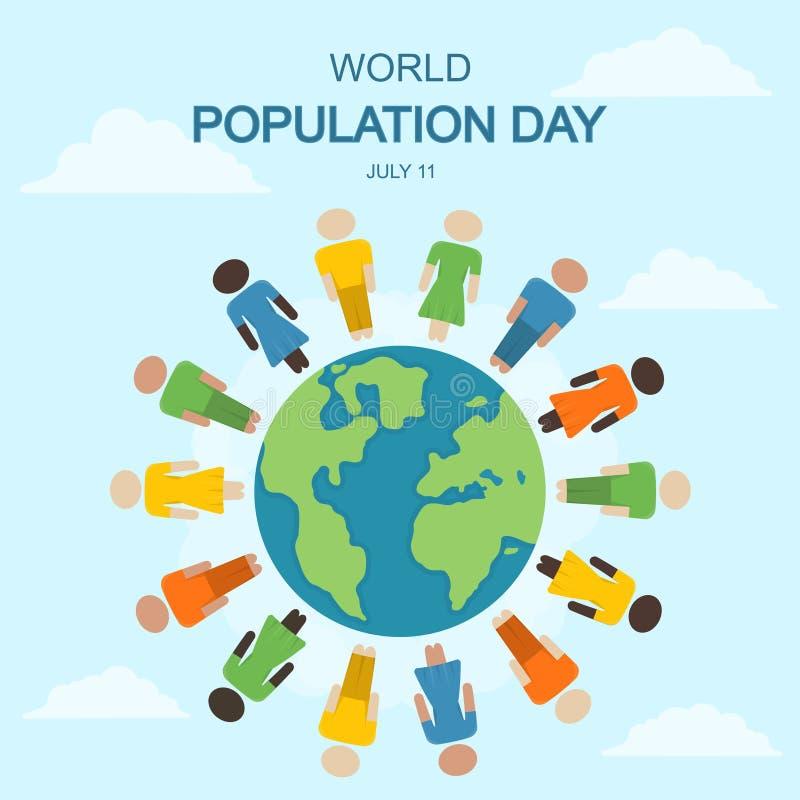 Día de la población de mundo, el 11 de julio stock de ilustración