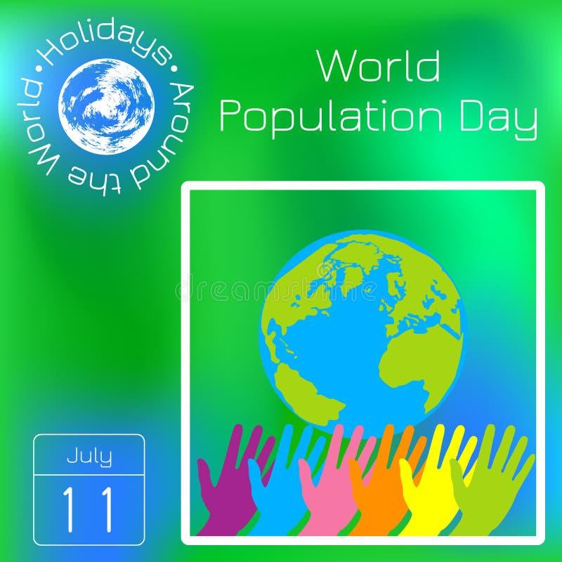 Día de la población de mundo 11 de julio Manos de diverso estiramiento de los colores Tierra del planeta Calendario de la serie D ilustración del vector