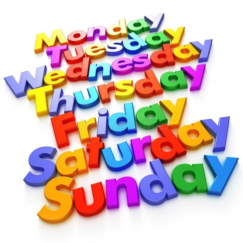 Día de la semana en imanes de la carta stock de ilustración