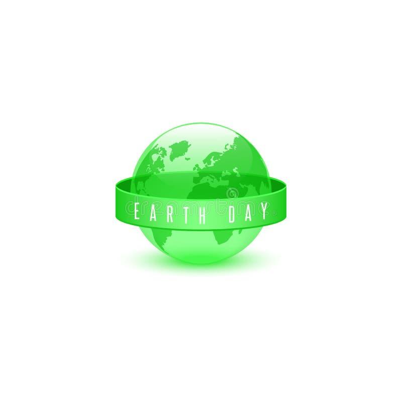 Día de la Tierra el concepto ecológico del lema del 22 de abril de la esfera verde, ahorra planeta tierra globo logotipo día del  stock de ilustración