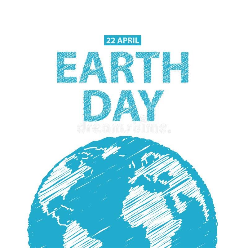 Día de la Tierra en colores azules Ilustración del vector Dibujo de lápiz ef imagen de archivo