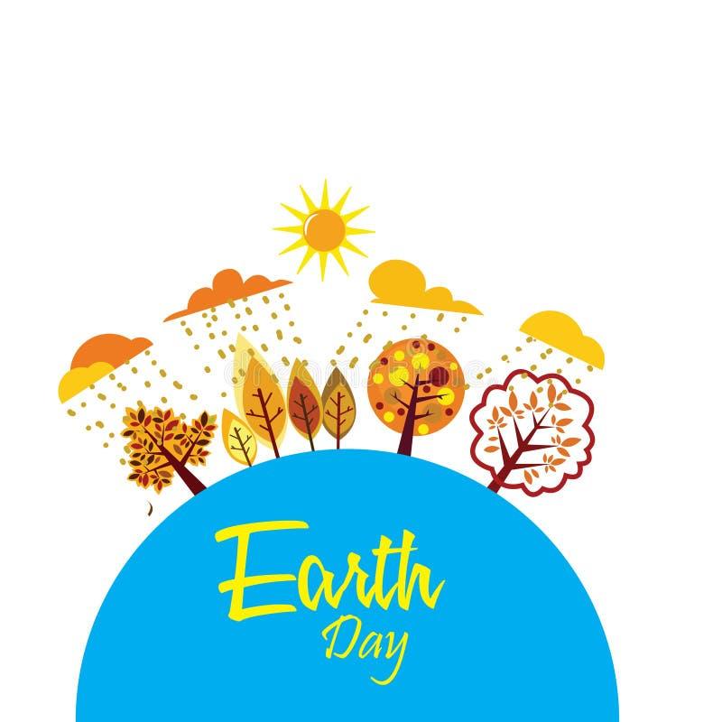 Día de la Tierra feliz con el mundo y el árbol - vector stock de ilustración