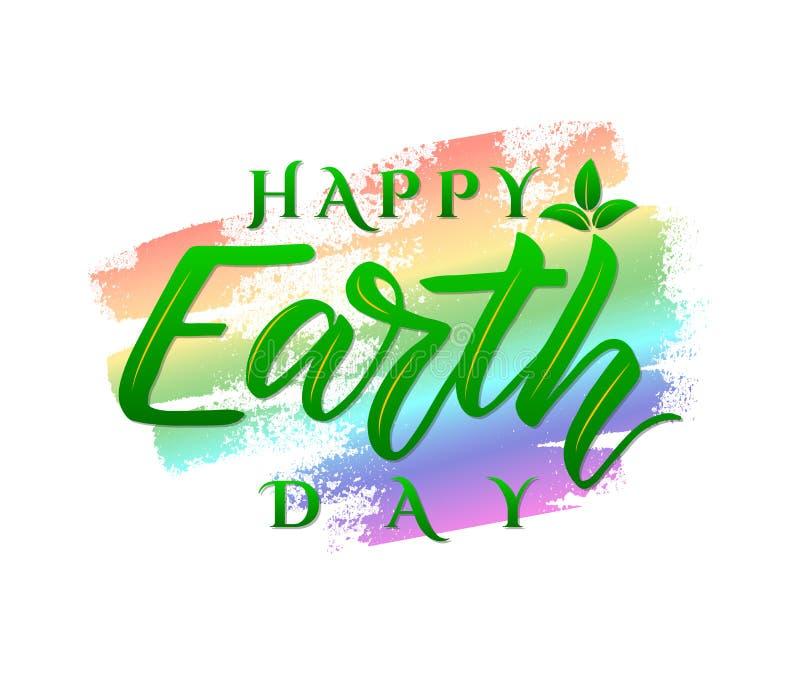 Día de la Tierra feliz del cartel del vector Letras de la mano en punto colorido de la acuarela Concepto de la ecología stock de ilustración