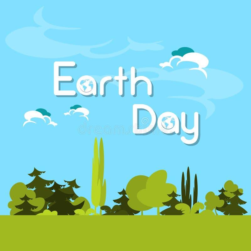 Día de la Tierra Forest Tree Nature Landscape verde stock de ilustración