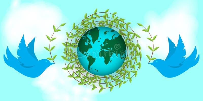 Día de la Tierra internacional Las palomas construyen una jerarquía de ramitas Día de paz, planetas, ambiente libre illustration