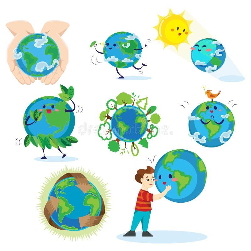 Día de la Tierra, muchacho feliz que abraza el planeta, concepto de la ecología del amor la protección del mundo, verde y azul de stock de ilustración