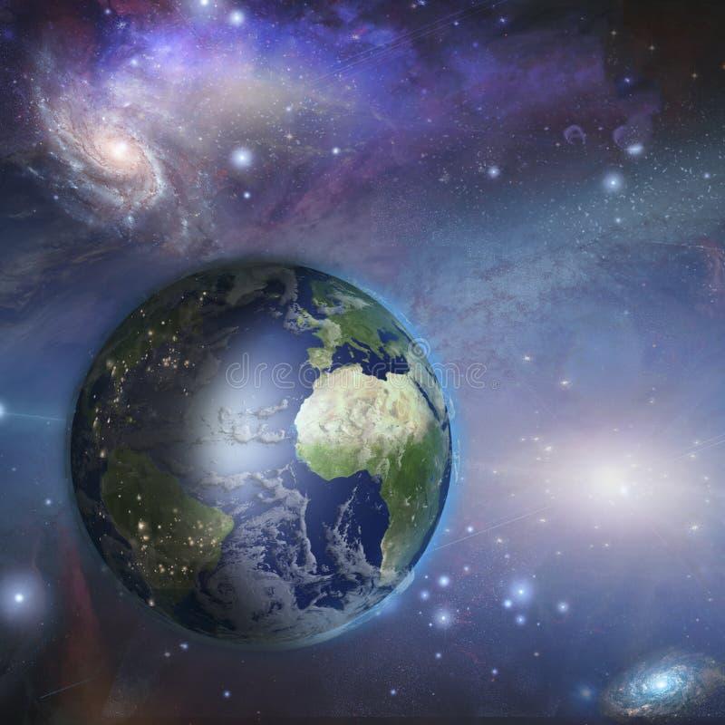 Día de la Tierra y noche en espacio stock de ilustración