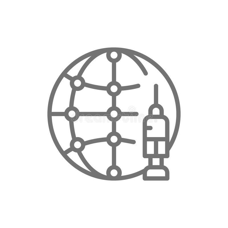 Día de la vacunación del mundo, jeringuilla con el globo, línea icono de la inyección libre illustration