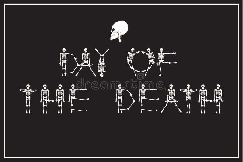 Día de las letras de la muerte con la fuente de los esqueletos del baile, sistema de l ilustración del vector