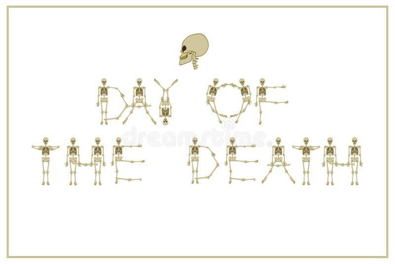 Día de las letras de la muerte con la fuente de los esqueletos del baile, sistema de l libre illustration