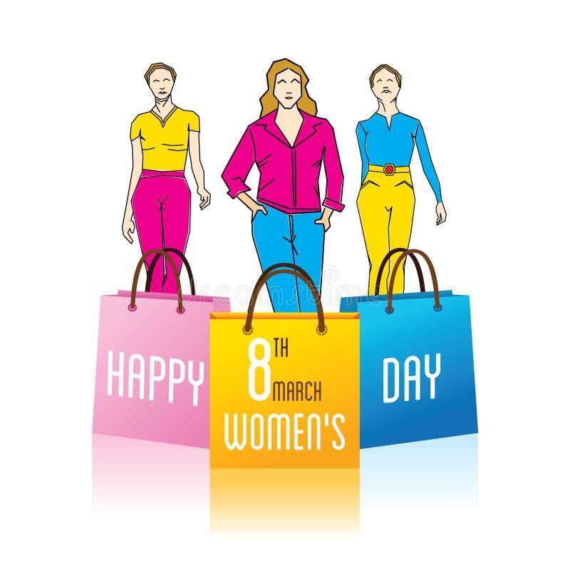 Día de las mujeres felices libre illustration