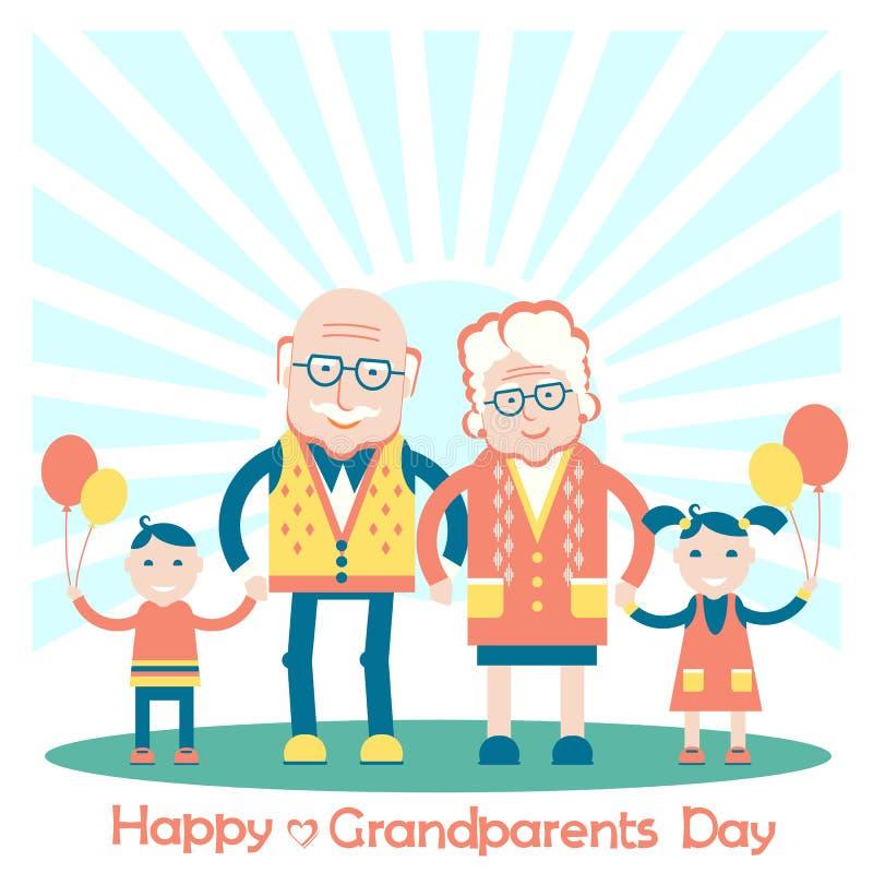 Día de los abuelos con los nietos Ejemplo de la familia del vector libre illustration
