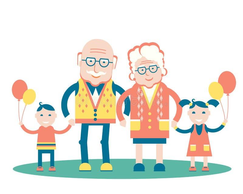 Día de los abuelos con los nietos Vector aislado stock de ilustración