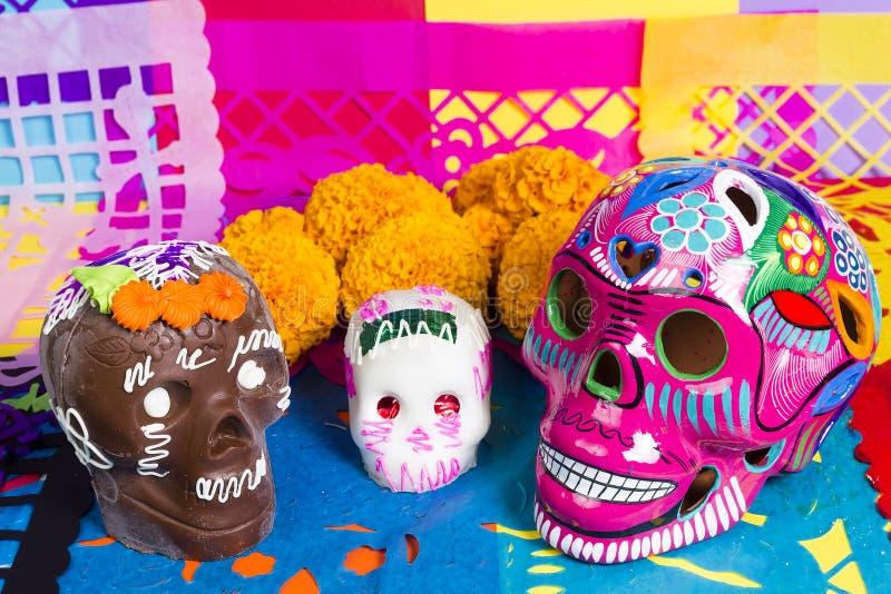 Día de los cráneos de la celebración muerta imágenes de archivo libres de regalías