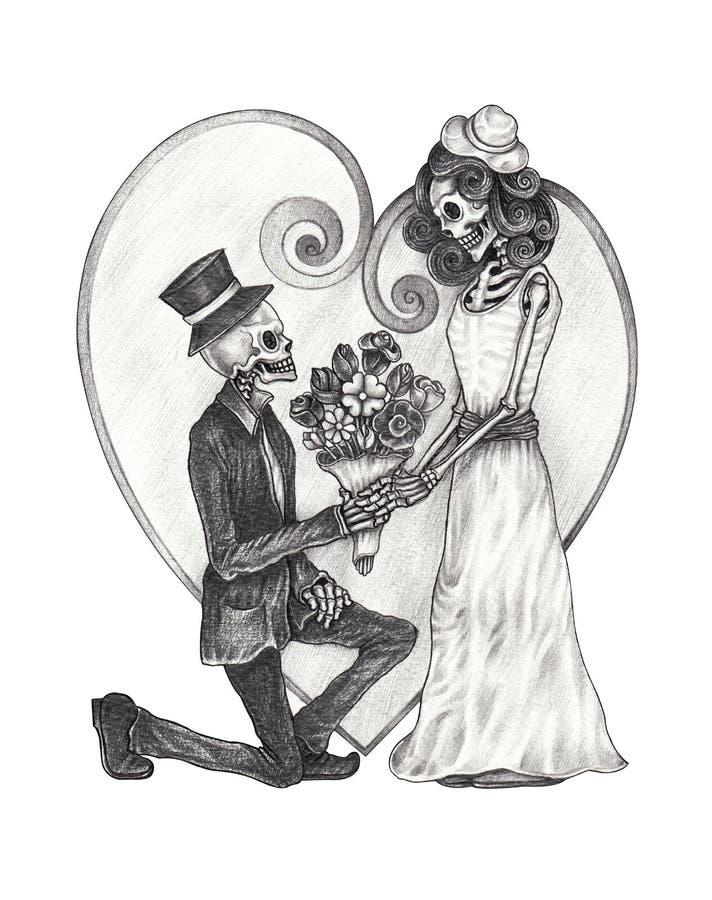 Día De Los Cráneos De La Boda Del Amor De Art In De Los Muertos ...