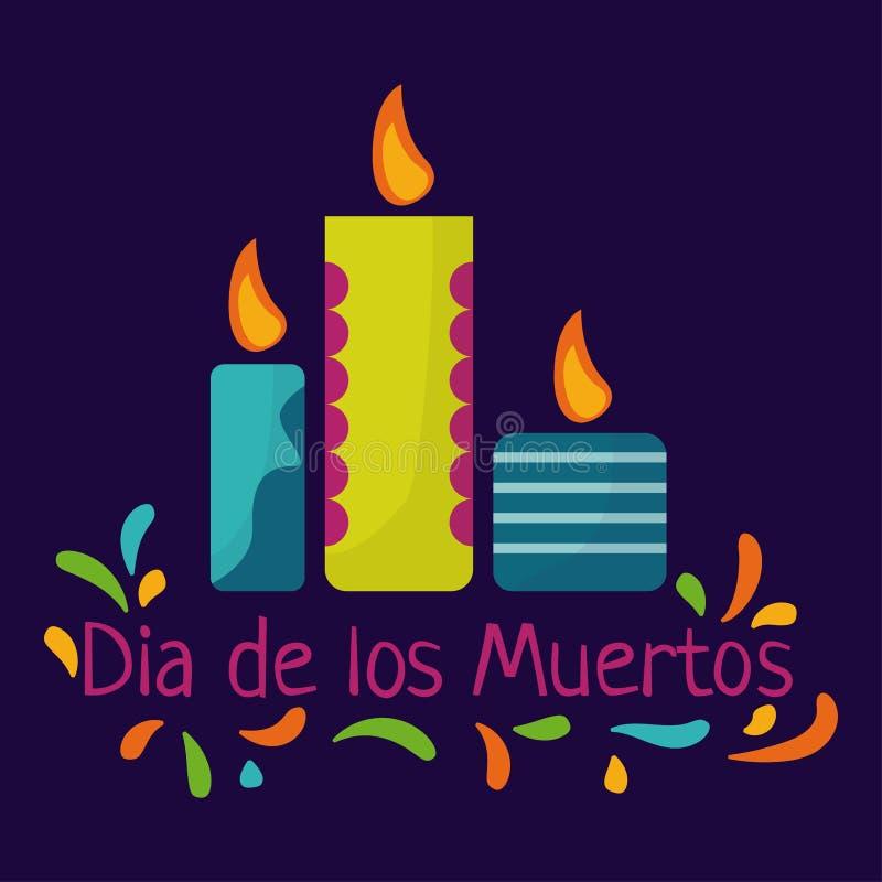 Día de los muertos Concepto de Dia de los Muertos con las velas y el texto coloridos stock de ilustración