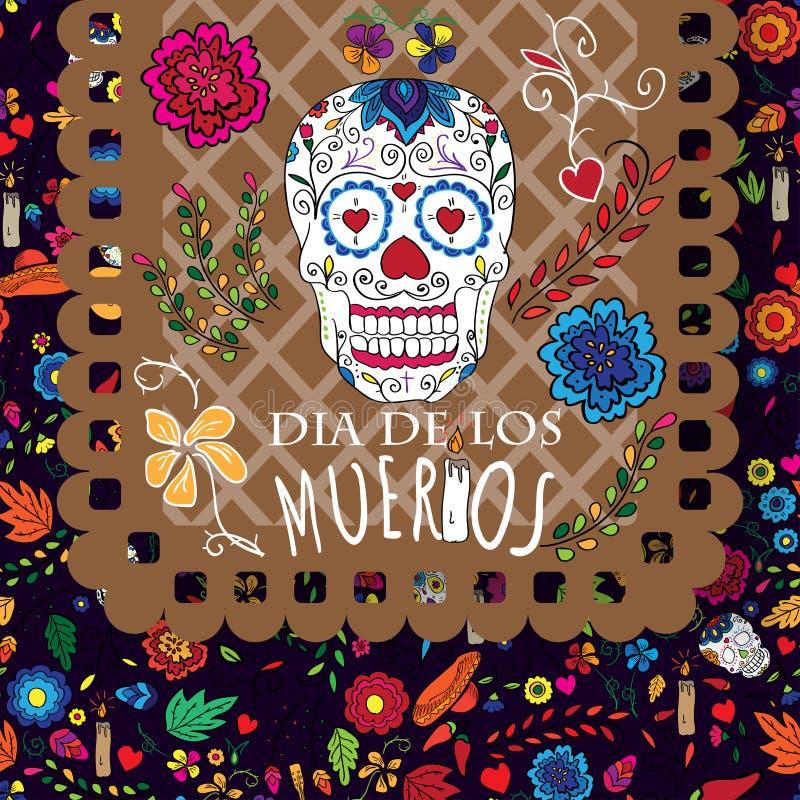 Día de los muertos, diámetro de los moertos, bandera con las flores mexicanas coloridas ilustración del vector