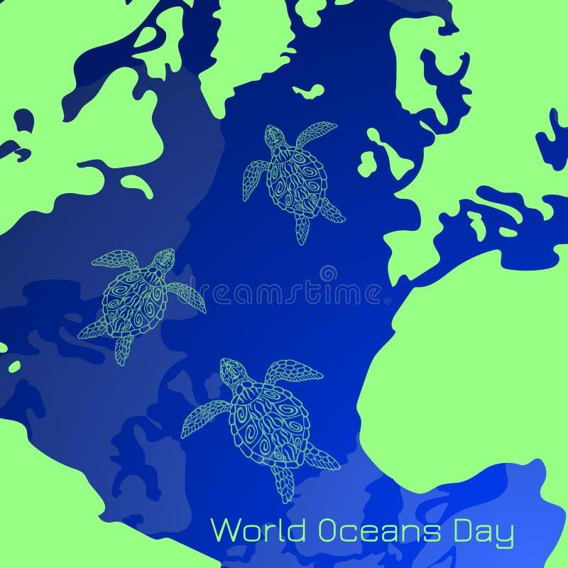 Día de los océanos del mundo La parte de la superficie de tierras es el océano, continentes, islas Tortugas de mar que nadan stock de ilustración