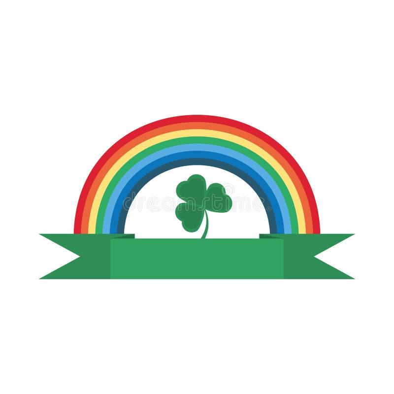 día de los patricks del st del ornamento del trébol del arco iris ilustración del vector