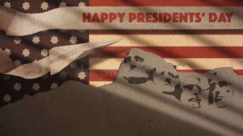 Día de los presidentes El monte Rushmore con el aeroplano stock de ilustración