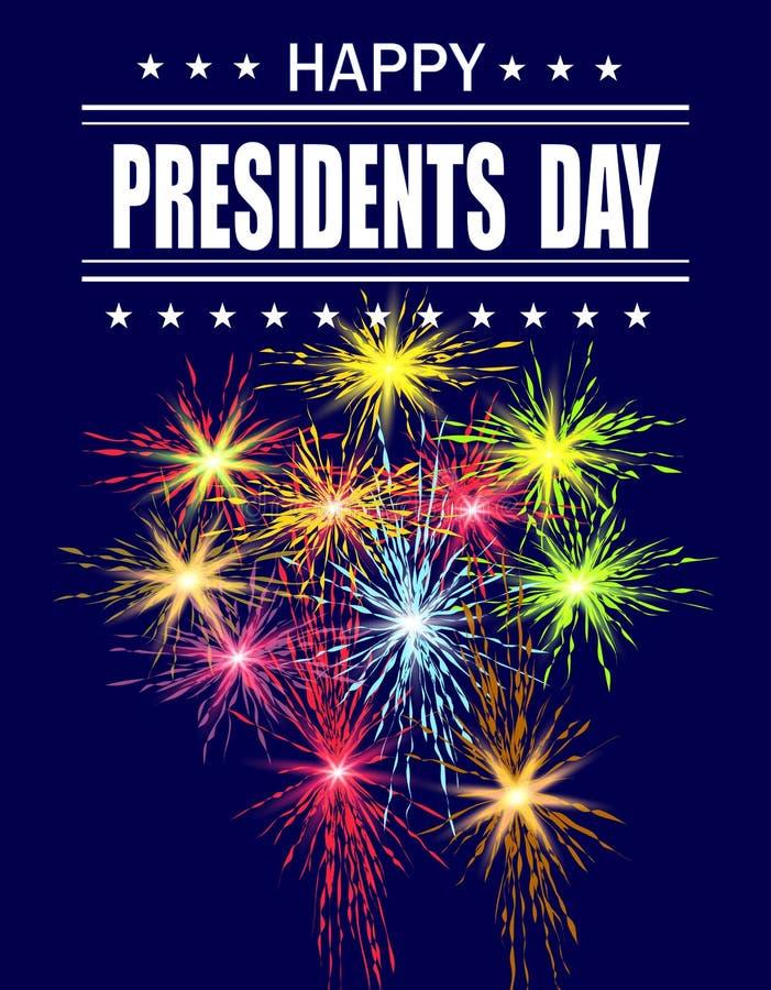 Día de los presidentes Tarjeta de felicitación con fuegos artificiales festivos Inscripción del saludo Ilustración libre illustration