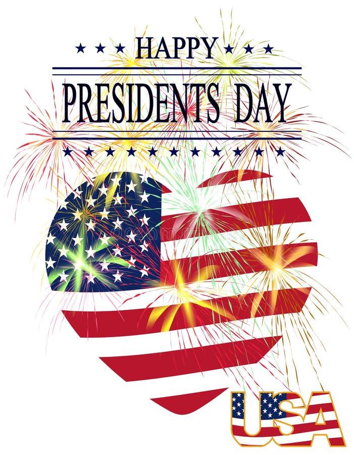 Día de los presidentes Tarjeta de felicitación con los fuegos artificiales celebradores en un fondo blanco stock de ilustración