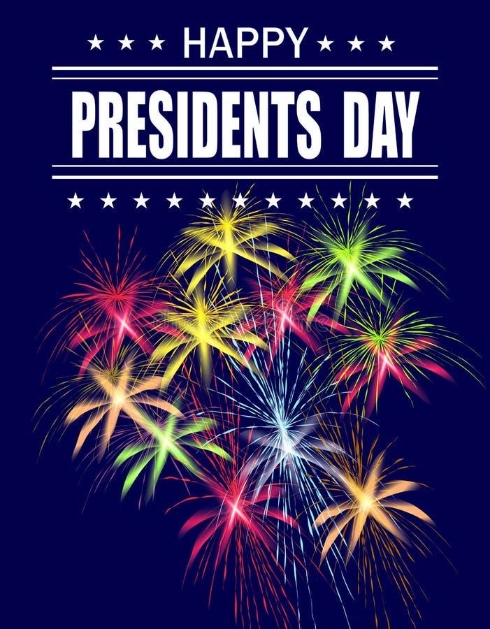 Día de los presidentes Tarjeta de felicitación con los fuegos artificiales en un fondo azul Inscripción del saludo Ilustración ilustración del vector