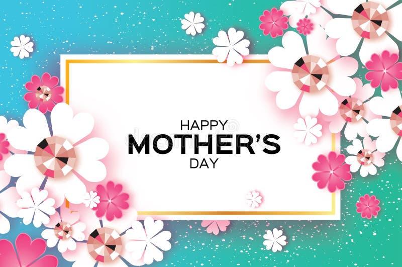 Día de madres feliz azul Piedras brillantes Flor de corte de papel Marco del rectángulo stock de ilustración