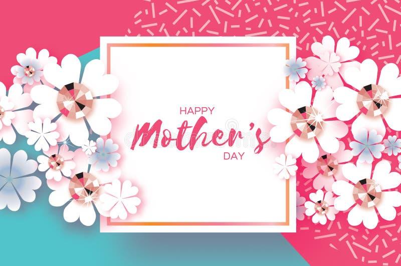 Día de madres feliz azul rosado Piedras brillantes Flor de corte de papel Marco cuadrado stock de ilustración