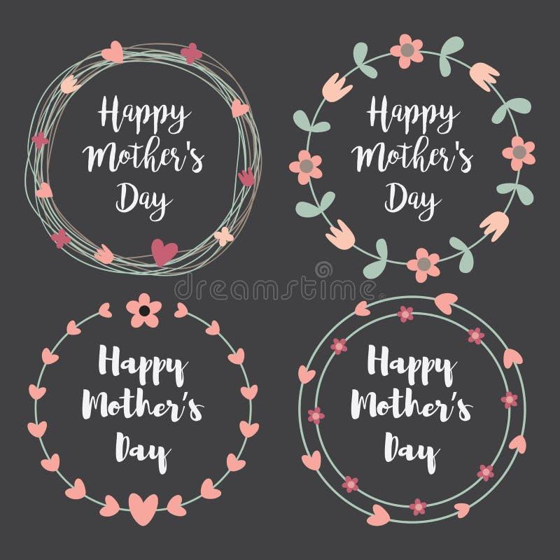 Día de madres feliz con el sistema de la tarjeta de felicitación de las flores Guirnalda del laurel, guirnalda floral Ilustración libre illustration