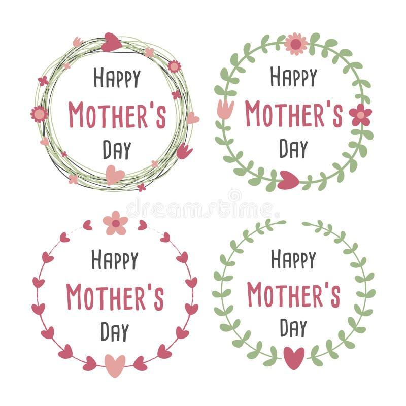 Día de madres feliz con la tarjeta de felicitación de las flores Guirnalda del laurel, guirnalda floral Ilustración del vector stock de ilustración
