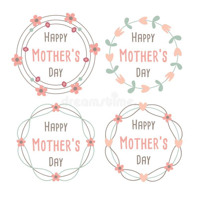 Día de madres feliz con la tarjeta de felicitación de las flores Guirnalda del laurel, guirnalda floral Ilustración del vector libre illustration