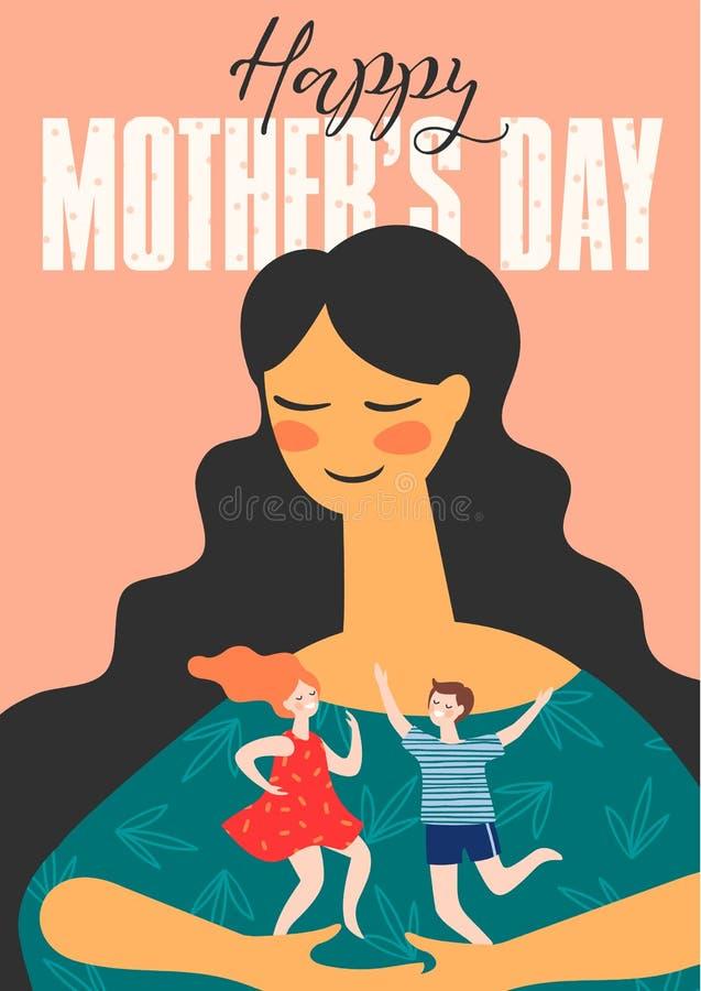 Día de madres feliz Ejemplo del vector con la mujer y los niños ilustración del vector