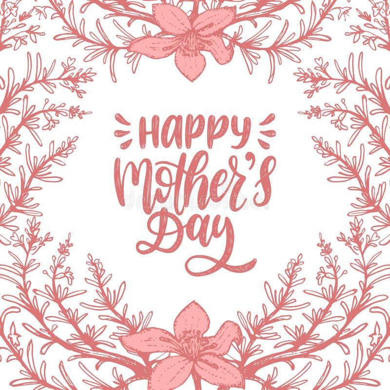 Día De Madres Feliz De La Inscripción Caligráfica Del Vector Dé El ...