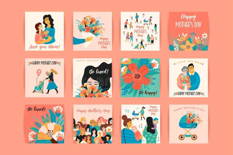 Día de madres feliz Plantillas del vector stock de ilustración