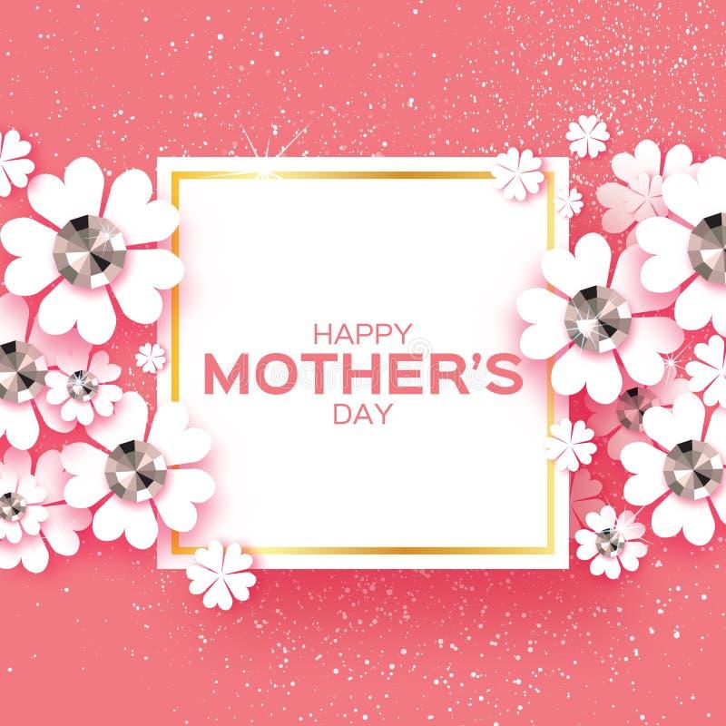 Día De Madres Feliz Rosado Piedras Brillantes Flor De Corte De Papel ...