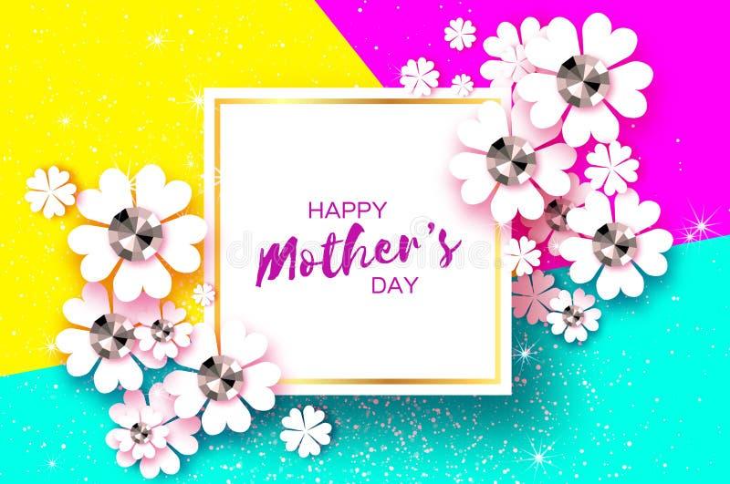 Día de madres feliz Tarjeta de felicitación floral blanca con las piedras brillantes Día para mujer con la flor de corte de papel ilustración del vector
