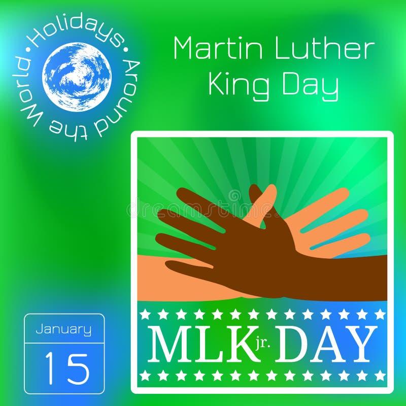 Día de Martin Luther King Las manos multicoloras alcanzan para un apretón de manos stock de ilustración