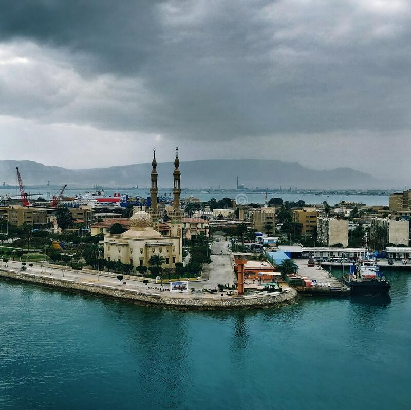Día de Moody en Port Suez, Egipto foto de archivo libre de regalías