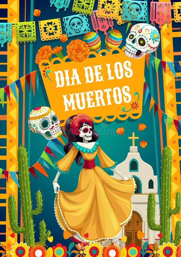 Día De Mujer Muerta Del Calavera Del Catrina Y De Banderas
