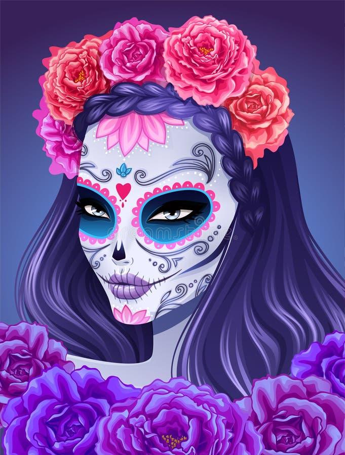 Día de mujer muerta del cráneo del azúcar libre illustration