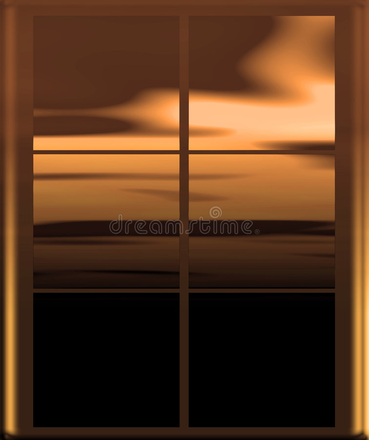 Día de oro a través de la ventana stock de ilustración