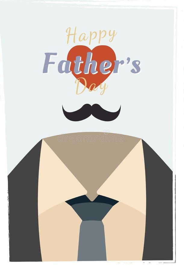 Día de padre feliz Bandera festiva del saludo Combinación de la fuente con el corazón Ejemplo plano eps10 ilustración del vector