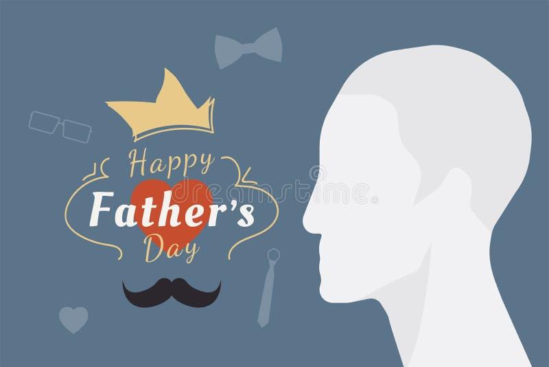 Día de padre feliz Bandera festiva del saludo Silueta del padre y una combinación de la fuente con el corazón Illustrat plano stock de ilustración