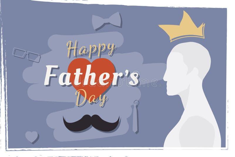 Día de padre feliz Bandera festiva del saludo Silueta del padre y una combinación de la fuente con el corazón Illustrat plano ilustración del vector