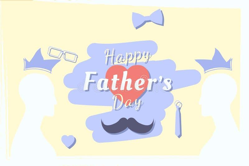 Día de padre feliz Bandera festiva del saludo Silueta del padre y una combinación de la fuente con el corazón Illustrat plano libre illustration