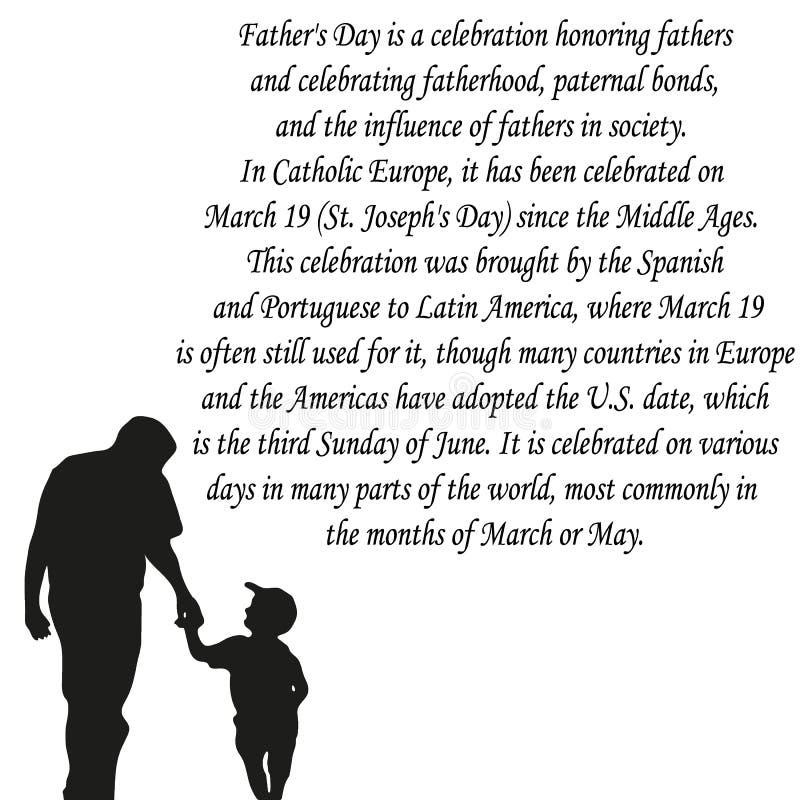 Día de padres feliz, bandera o cartel, silueta de un padre que lleva a cabo su mano del niño Ilustración del vector ilustración del vector