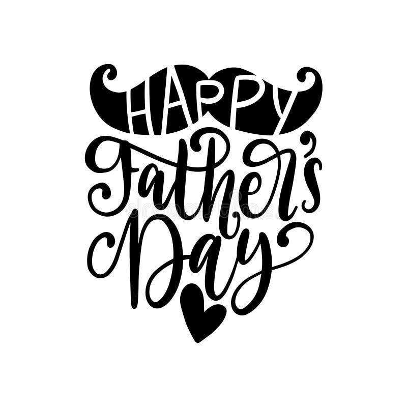 Día de padres feliz, caligrafía del vector para la tarjeta de felicitación, cartel festivo etc Letras de la mano en el fondo blan libre illustration